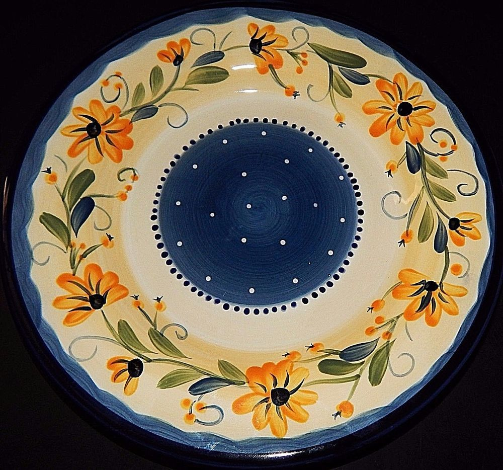 Table Tops Gallery Bella Flora DINNER PLATE Hand Painted Daisy Blue ...