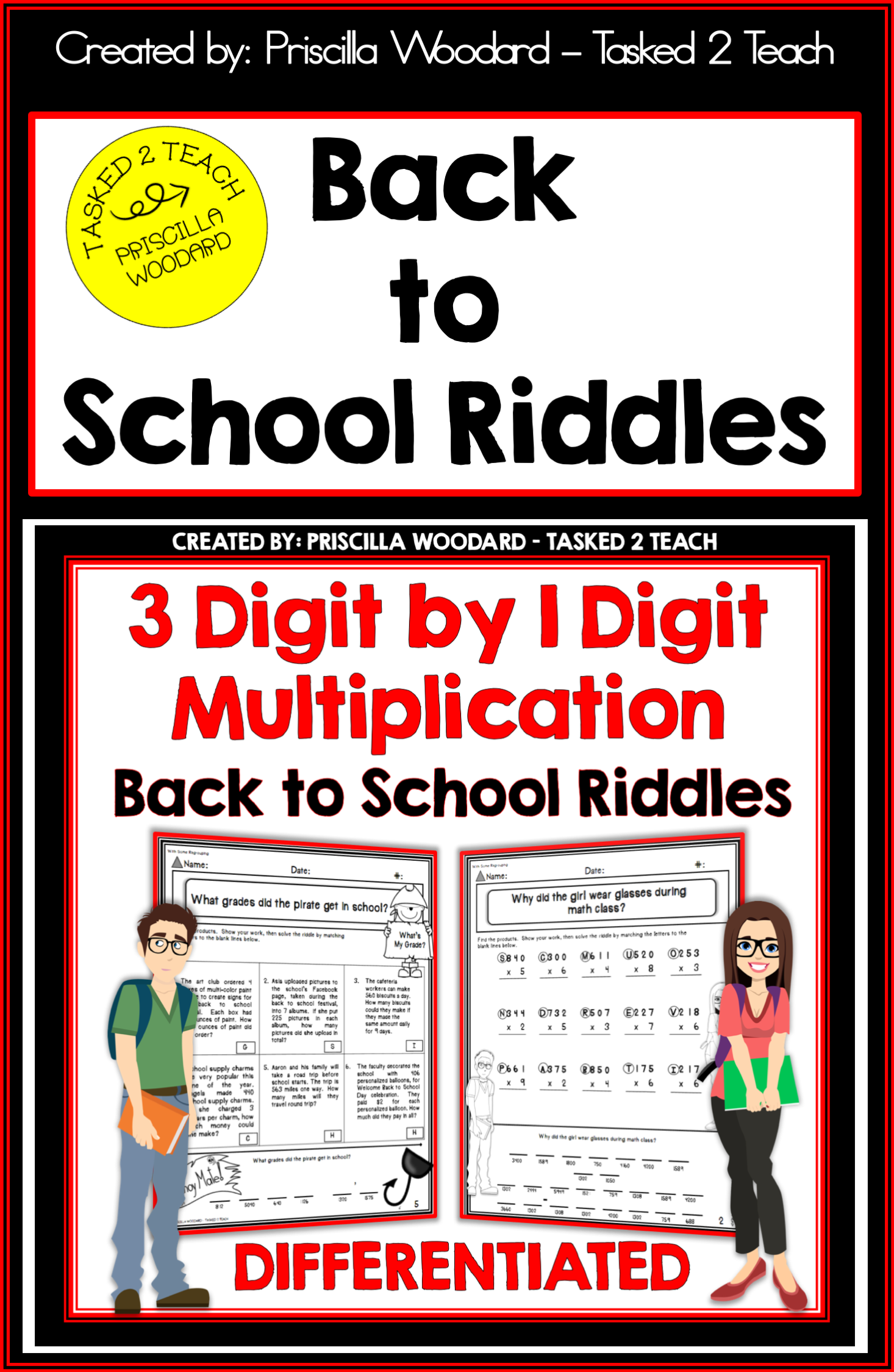 3 Digit By 1 Digit Multiplication Back To School Theme