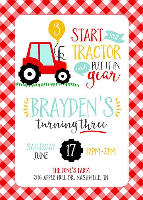 diy printable boy red tractor birthday