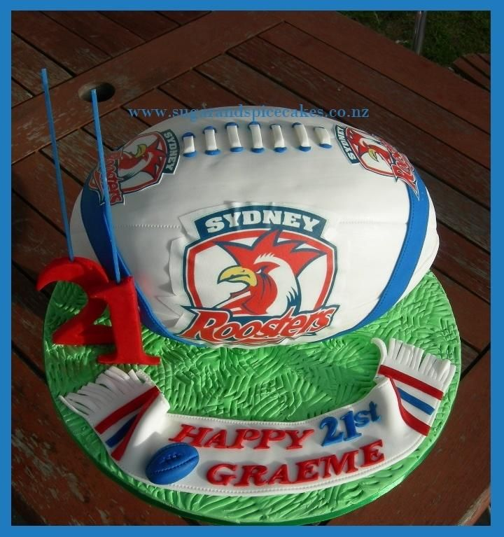 Birthday Gift Idea Sydney: Sydney Roosters Rugby Ball Cake
