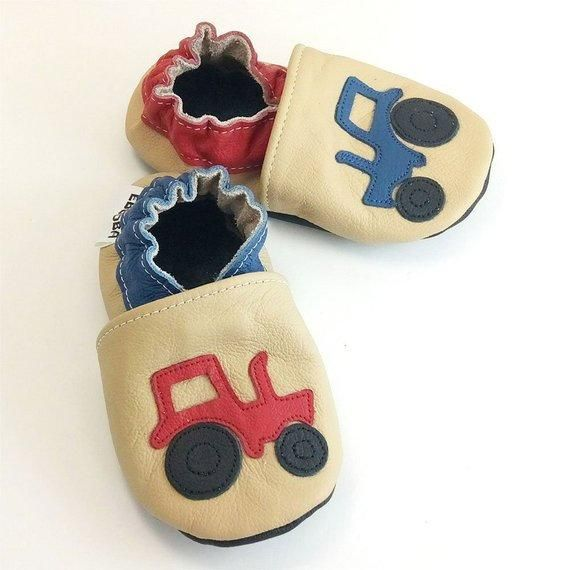 66e482d0419f4 Green Tractor Baby Shoes, Dark Brown Boy Shoes, Soft Sole Baby Shoes,  Leather Toddler Shoes 3-4 Year