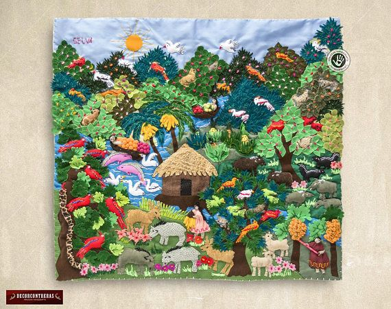 Arpillera Quilt Jungle Design 17 7x19 7 Wall Hanging Etsy Quilted Wall Hangings Textiles Artwork Hanging Quilts