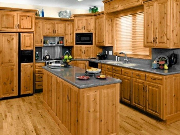 holzküche funktionale kleine küche kücheninsel holzboden | Küche ...