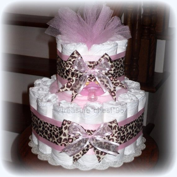 Animal Print Diaper Cake Baby Girl Baby Shower Giraffe Pink U0026 Brown  Decorations Centerpiece Favors Cheeta