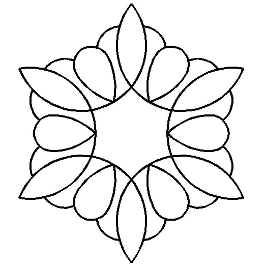 Quilting Line Templates : Quilt Stencil Kaleidoscope By Needham, Cindy - 6in x 7in Kaleidoscope Block continuous line ...
