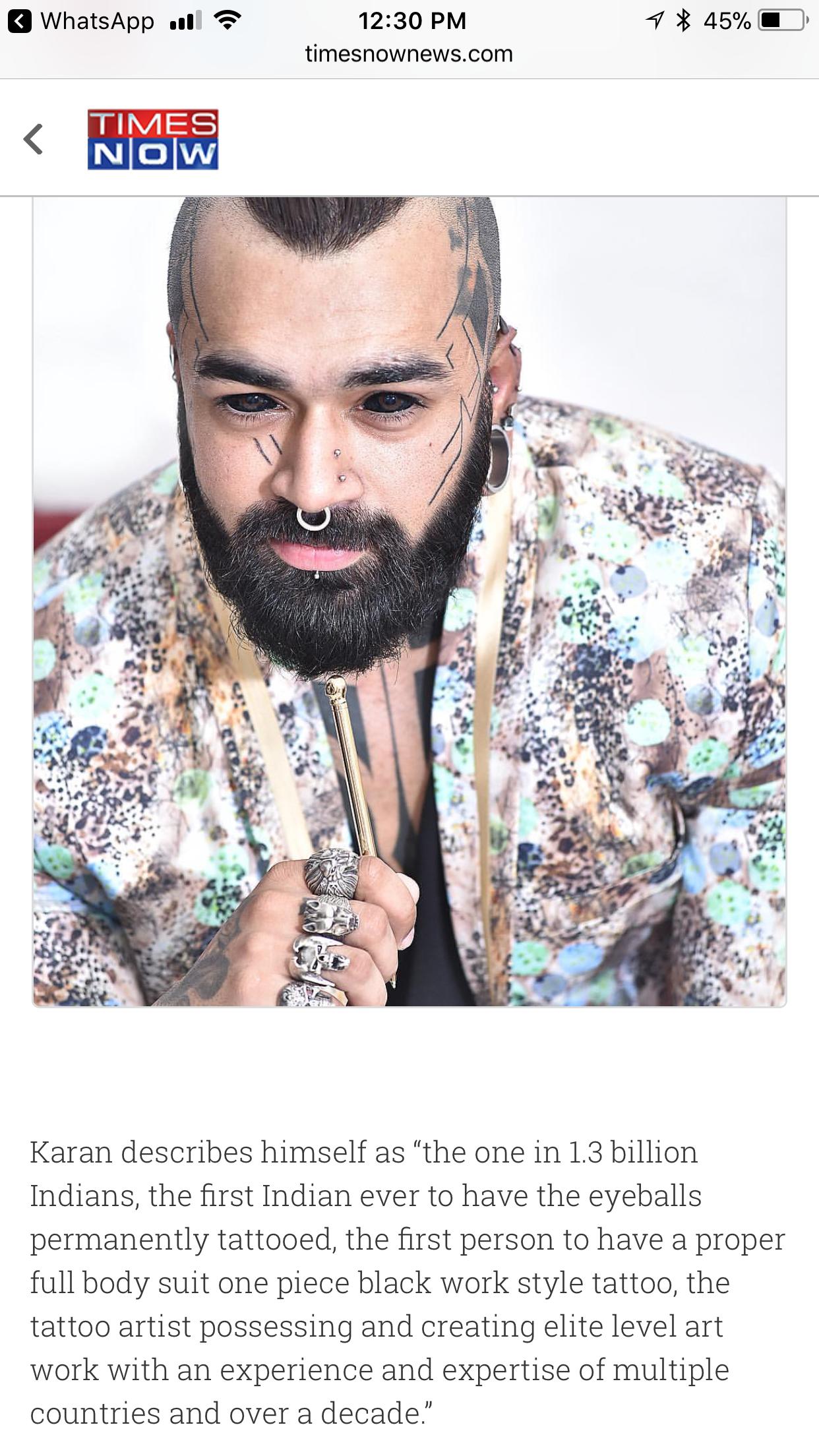 First Indian to get eye balls tattooed, Indian tattoo artist