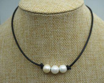 6f53aba8537ea White Pearl Choker Necklace, Pearl Black String Choker, Leather ...