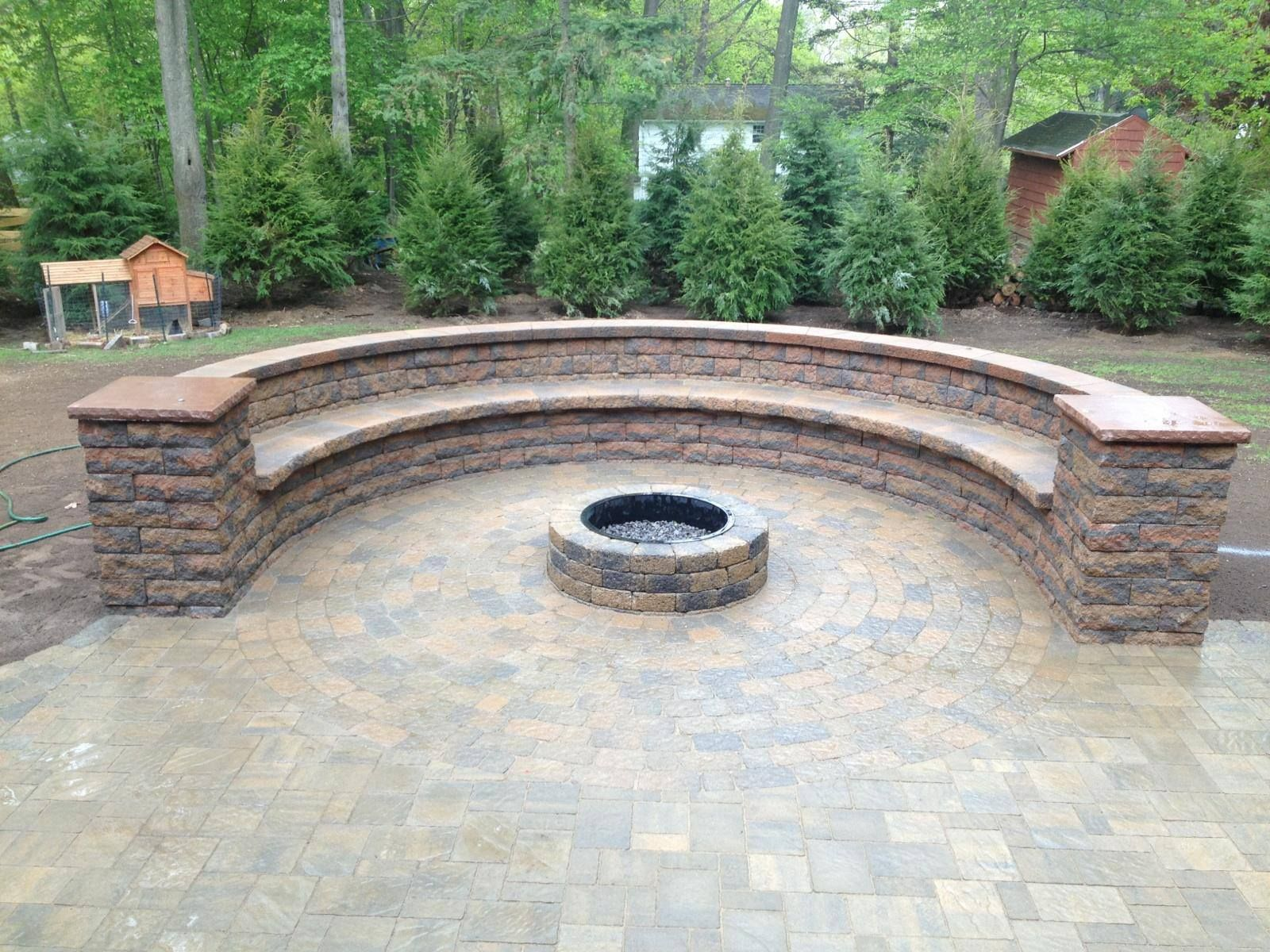Custom Hardscape, Bench And Fire Pit In Webster Ny Using