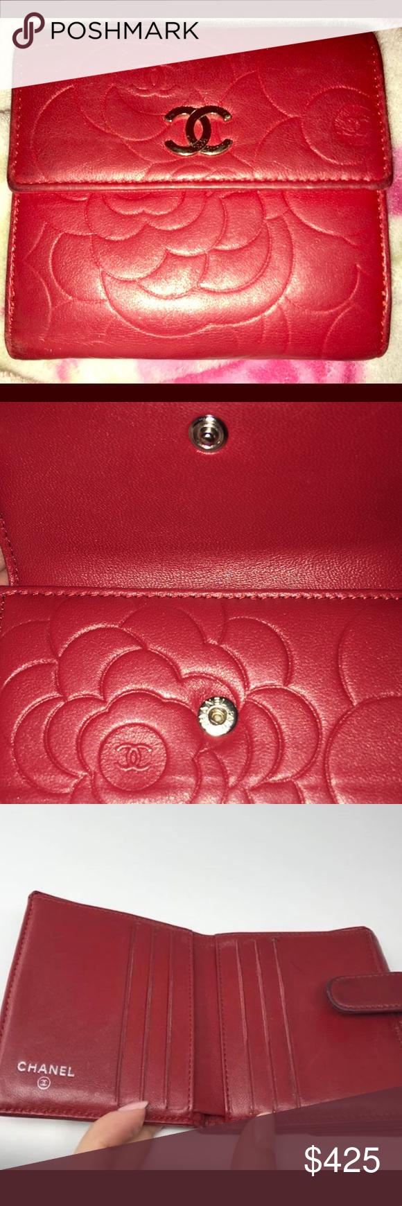 5f2910b9ed40 CHANEL Red Camellia Flower Bi-Fold Wallet CHANEL Red Camellia Flower Bi-Fold  Wallet