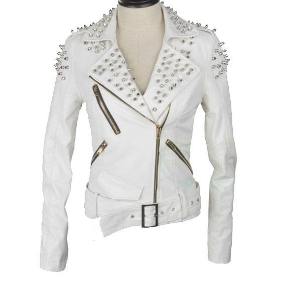 handmade women white studded leather Jacket women by ukmerchant ...