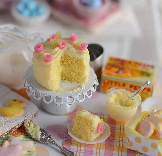 Tiny Kitchen Real Food: RESERVED-Miniature Shabby Lemon Cake Set