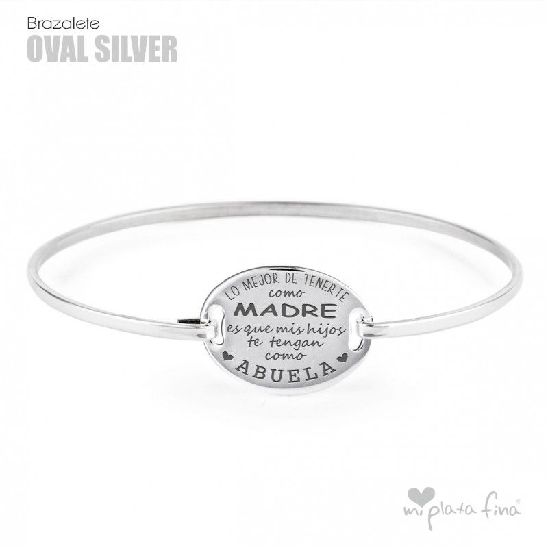 a0519e195122 Pulsera OVALADA Silver en plata de ley grabada personalizada.  abuela  mama   regalo
