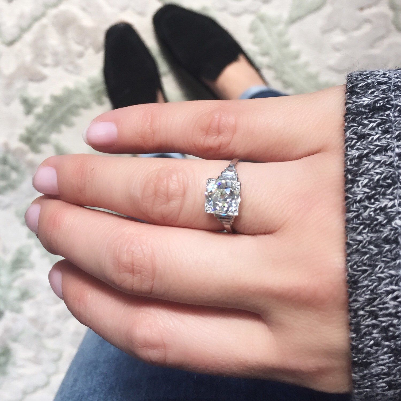 2.54 ct GIA certified old European cut diamond in an Art Deco ...