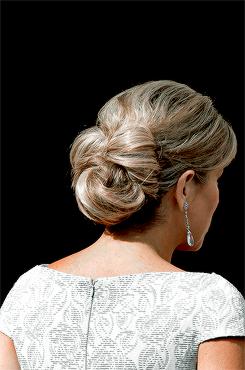 koninklijkhuis:  2016 Appeltjes van Oranje Award, Noordeinde Palace, May 26, 2016-Queen Maxima back hair detail