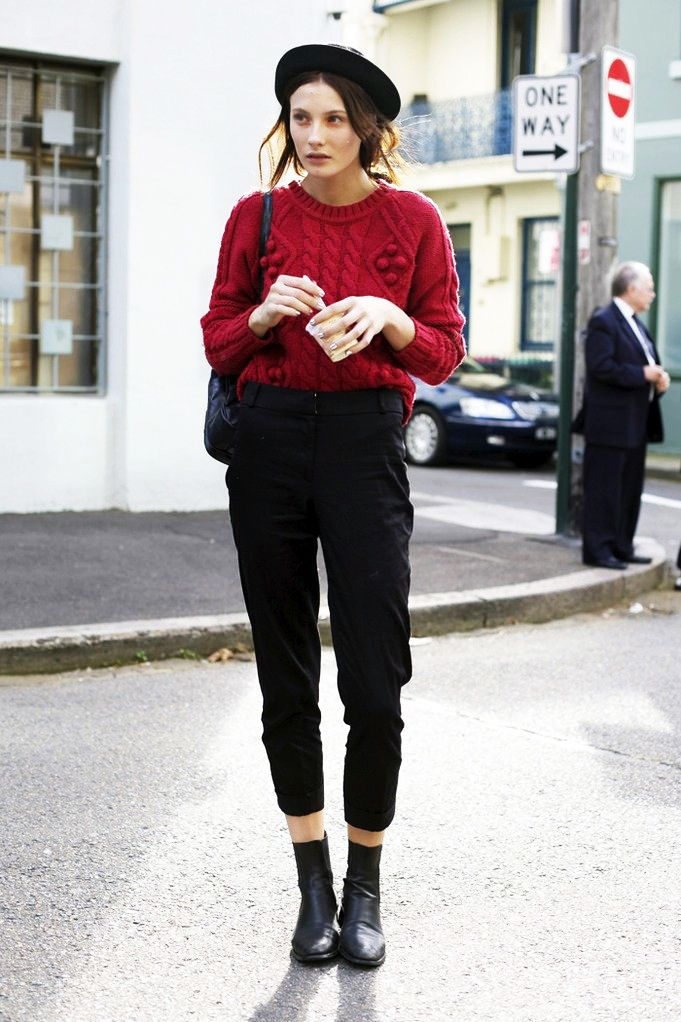 Model Off Duty Style Get Olivia Thorntons Red Sweater Look