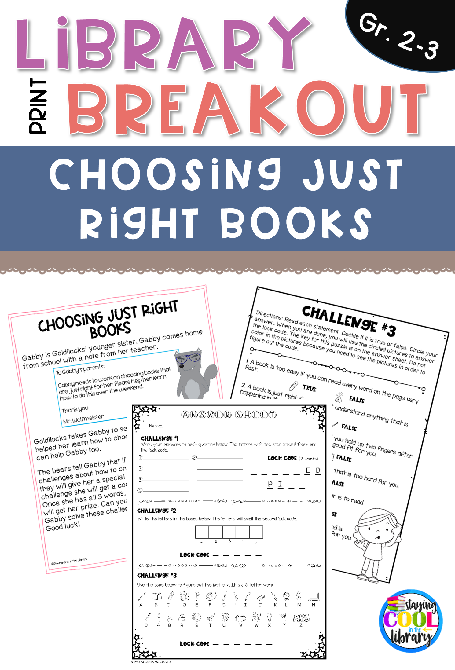 Choosing Just Right Books PRINT Breakout Just right
