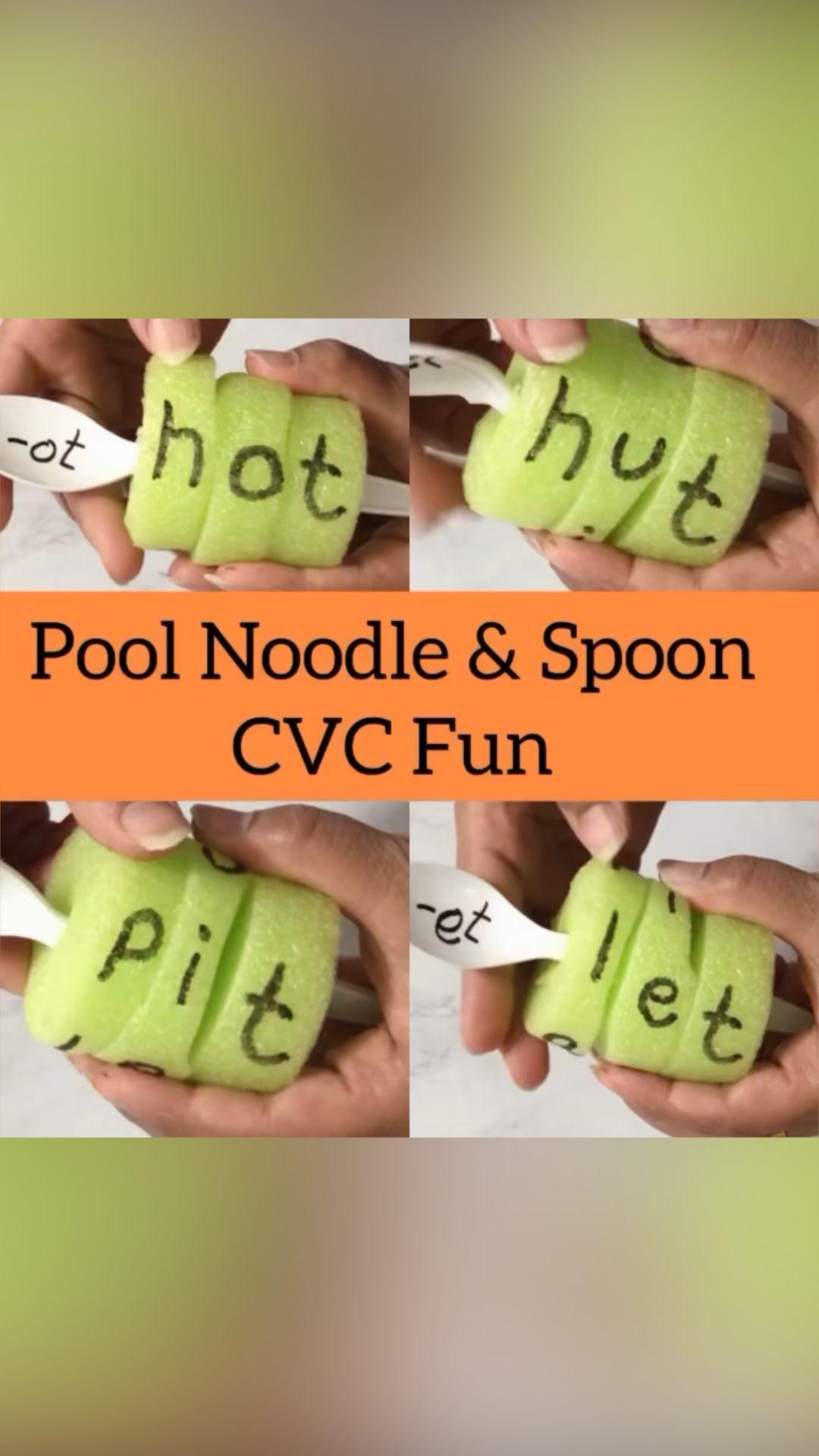 Pool Noodle CVC words Activity for Kindergarten 💕