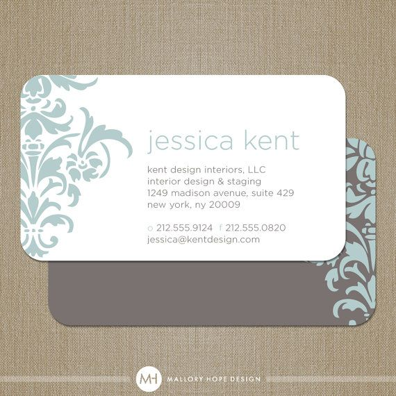Bold Damask Business Card Calling Card Mommy Card Contact Card Interior Designer Event