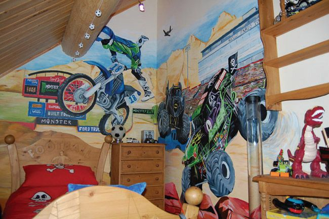 child s bedroom mural of a monster truck stadium i want someone to