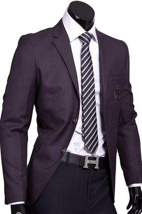 Стильный мужской пиджак под джинсы коричневого цвета   Приталенные ... 92c62088751