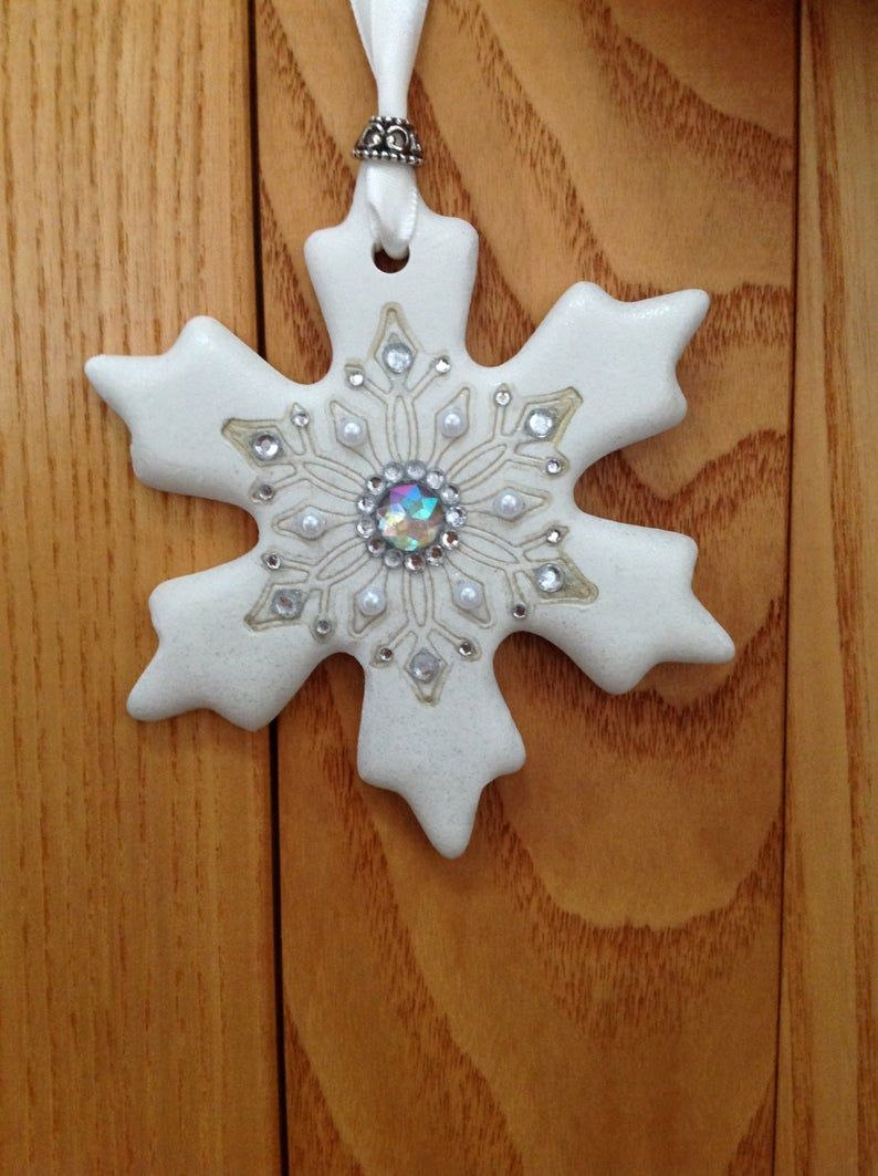 Polymer Clay Snowflake Ornament Etsy Clay Christmas Decorations Polymer Clay Christmas Polymer Clay Ornaments