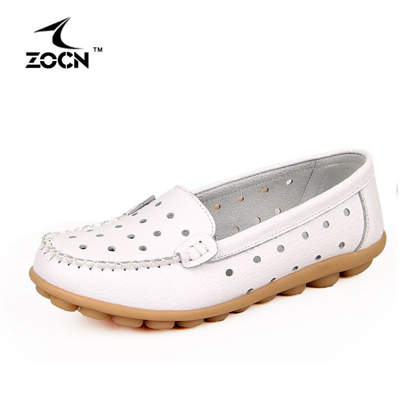 ZOCN Ballet Flats Women Shoes Woman Fliats Hollow Loafers Four Seasons 2016 Casual Shoes Fashion Genuine Leather Shoes Big Size