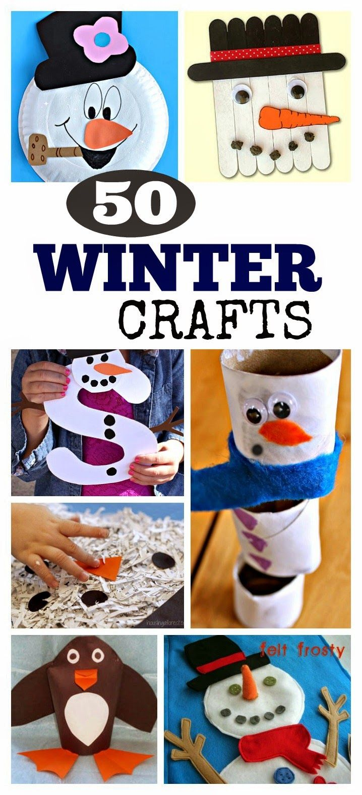 50 Winter Crafts Kids Love- so many fun ideas!