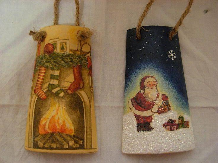 Tejas decoupage tejas decoradas pinterest navidad - Tegole decorate istruzioni ...