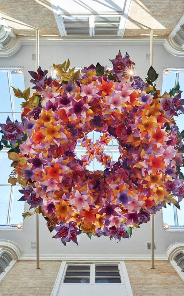 Scouted Paper Artist Zoe Bradley S Floral Chandelier Installation We Are Scout Paper Flowers Paper Flower Art Flower Installation