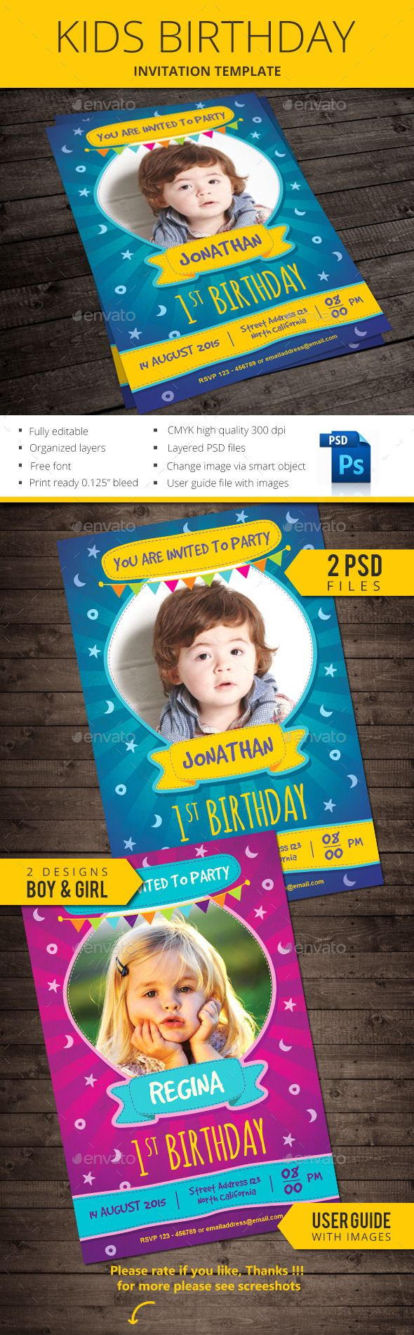 Kids Birthday Invitation | Edit text, Template and Flyer printing
