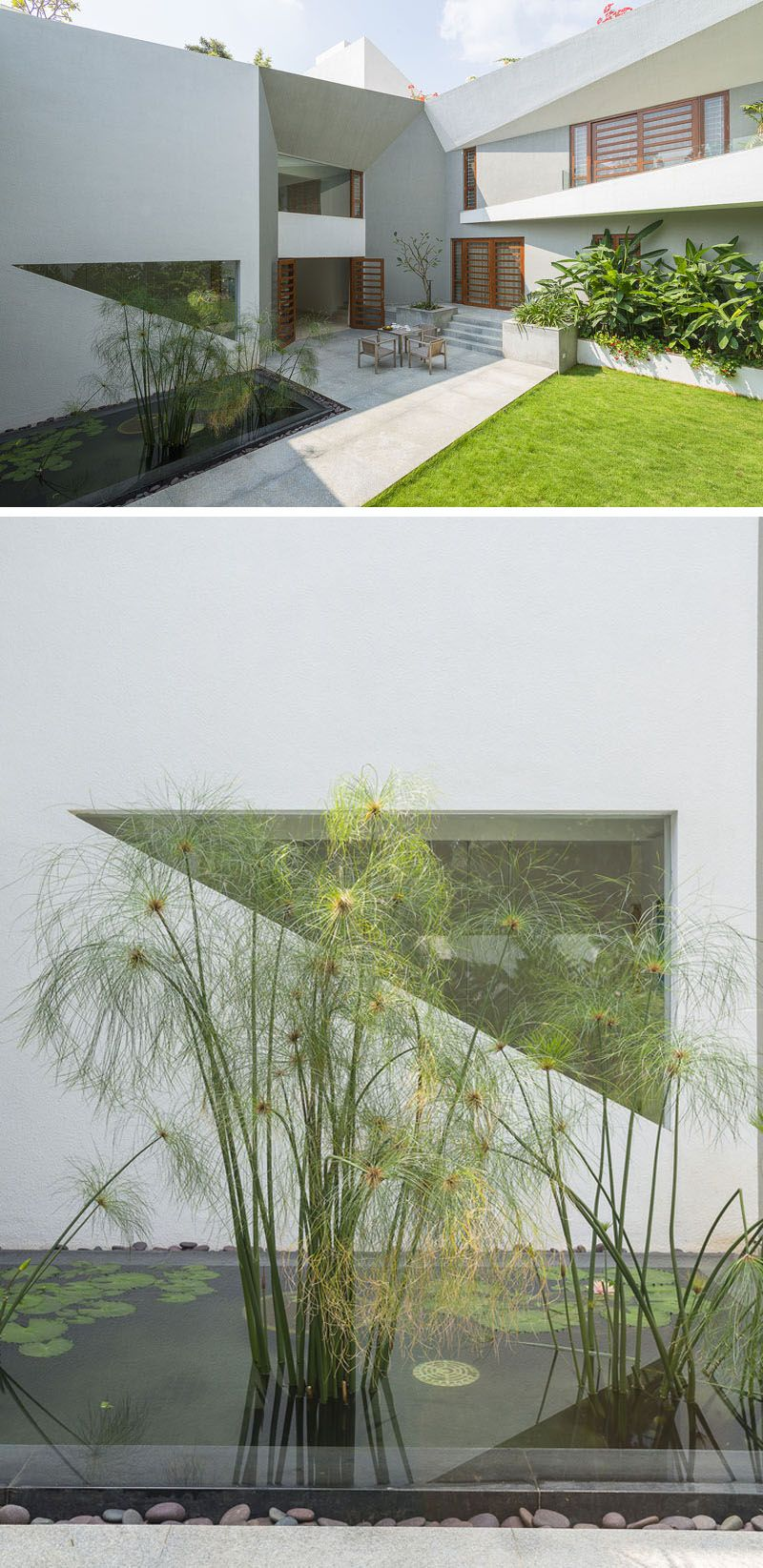 The Small Rectangular Pond In This Modern Backyard Breaks Up The Concrete  Patio And Creates A