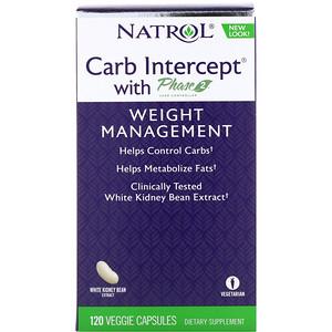 Natrol Carb Intercept With Phase 2 Carb Controller بمقدار 1000 ملجم 120 كبسولة نباتية Carbs Calorie Reduction Capsule