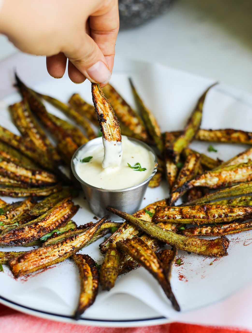 Cajun Oven Roasted Okra Fries With Lemon Garlic Aioli The Defined Dish Recipe Okra Recipes Roasted Okra Recipes