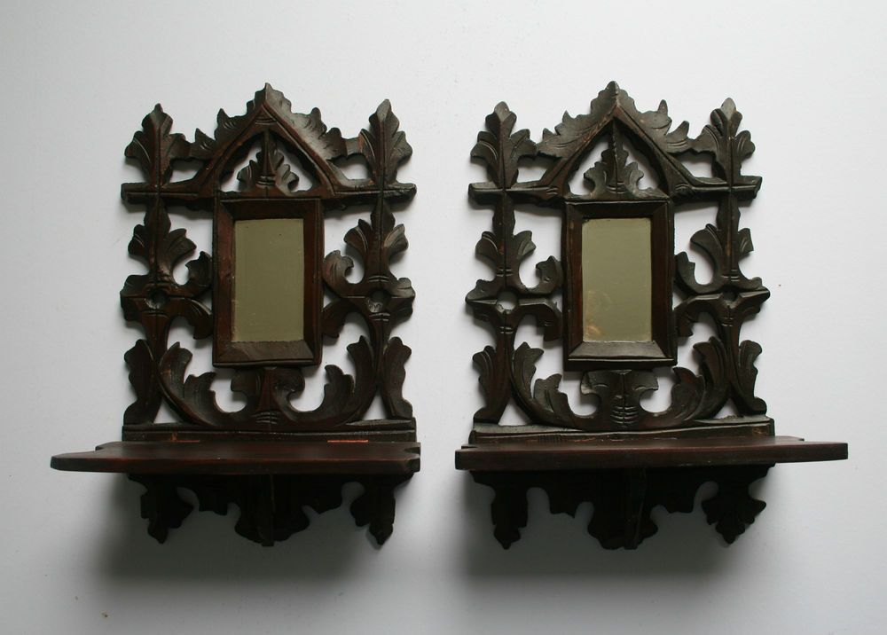 Pair of antique carved wood wall candle sconces shelf mirror black forest gothic