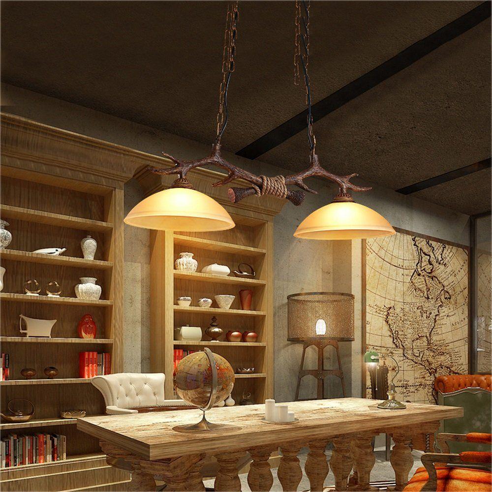 Hoiho Europe Vintage Chandelier Antler Resin Ceiling Pendant Lamp