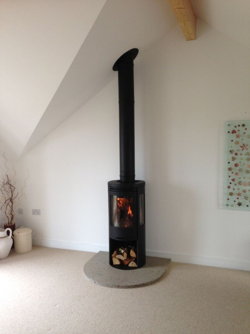 Kernow Fires Contura 556 on homemade hearth wood burning stove installation  in Cornwall.