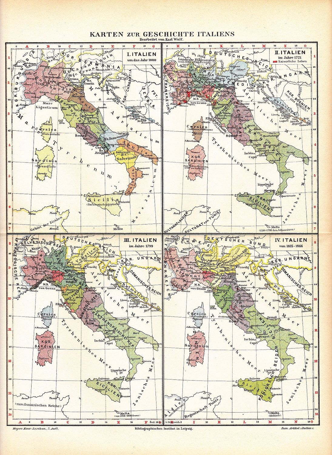 1895 Territory Of Italy From 1000 A D Until 1866 Historical