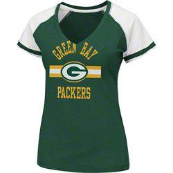 Green Bay Packers Women's Go For Two II Raglan V-Neck T-Shirt - Dark Green