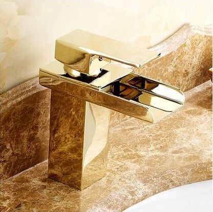 Hot Br Gold Bathroom Sink Tap Waterfall Mixer T1122g
