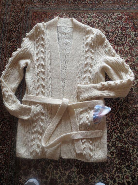 Vintage Hand Knitted Woollen ARAN Cardigan by Frenchtextilebarn