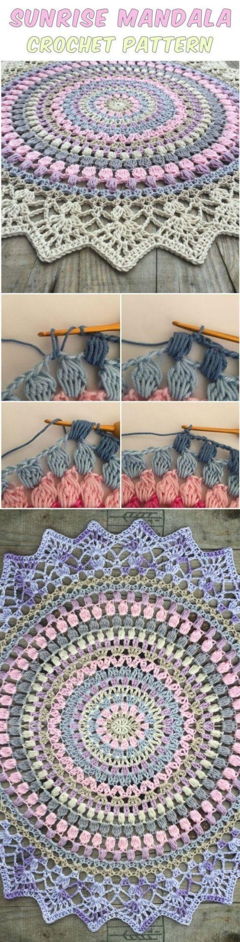 Sunrise Mandala Teppich Häkeln Häkelinspirationen Pinterest