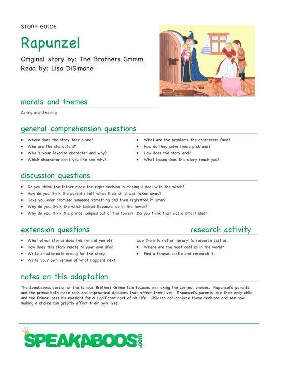 lesson plans rapnuzel speakaboos worksheets fairy tales pinterest worksheets kids. Black Bedroom Furniture Sets. Home Design Ideas