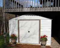 Storage Under Deck Ideas Arrow Vinyl Milford 10x12 Metal Shed Under Her Deck In South Dakota Metal Storage Sheds Outdoor Storage Sheds Shed Storage