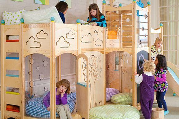 Amazing Rhapsody Bunk Bed With Ladder, Slide, Chalkboard, Tree By Cedarworks Awesome Design