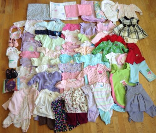 70+ Infant Baby Girl Clothing Lot Size 0-6 Months Baby Gap Carters Disney
