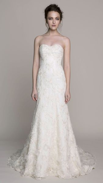 Kelly Faetanini's EMMY.  Re-embroidered ribbon lace modified a-line gown with crystal detail and silk organza flowers.