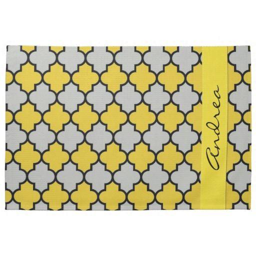 Your Name Moroccan Trellis Yellow Gray Black Kitchen Towel