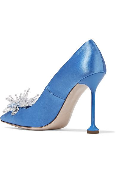 d1cb4a724a5a Miu Miu - Embellished Satin Pumps - Blue - IT39.5