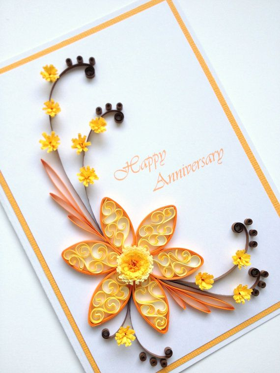Paper Quilling Happy Anniversary Card. Quilled Handmade Paper Flowers, by Joscinta, £6.00