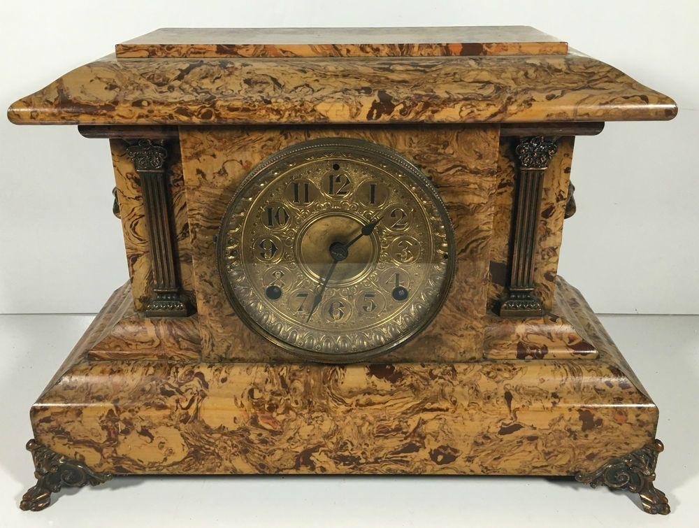 Antique Seth Thomas Adamantine Mantle Mantel Shelf Clock